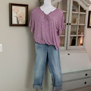 Lane Bryant Purple w/white stripe top